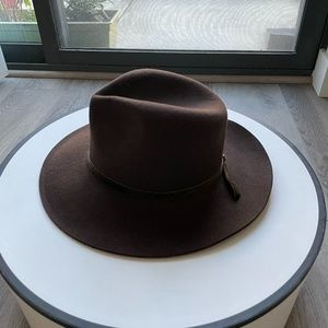 LACK OF COLOR BROWN CLASSIC WOOL FEDORA HAT SMALL